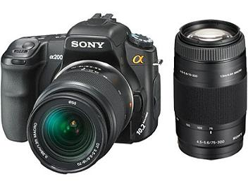 Sony Alpha DSLR-A200 DSLR Camera Kit with Sony 18-70mm Lens and Sony 75-300mm Lens