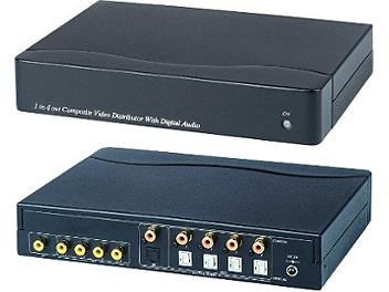 Globalmediapro SHE CD04D 1x4 Composite Video Distributor / Amplifier