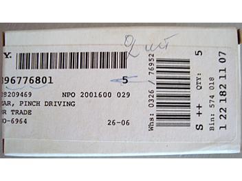 Sony 3-967-768-01 Gear, Pinch Driving