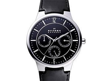 Skagen 331XLSLB Black Leather Strap Men's Steel Watch