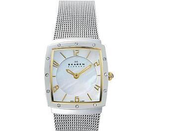 Skagen 396XSGS Two-Tone Square with Glitz Women's Steel Watch (pack 5 pcs)