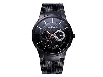 Skagen 809XLTBB Multifunction with Black Band Titanium Men's Watch (pack 8 pcs)