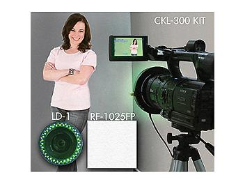 Datavideo CKL-300 Chromakey Kit with Dual-Color LED Light Ring and Retro-Reflective Screen