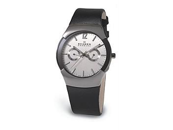 Skagen 583XLSLC Men's Black Leather Watch