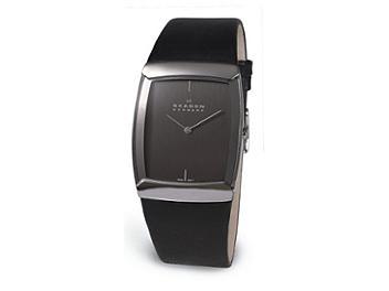 Skagen 584LSLM Black Leather Men's Watch