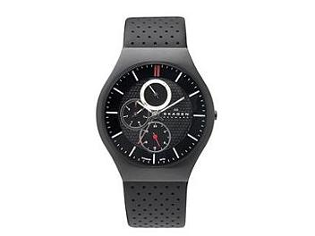 Skagen 806XLTBLB Black Leather Strap Men's Watch