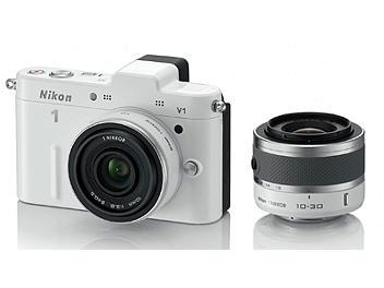 Nikon 1 V1 Camera Kit with 10mm and 10-30mm Lenses - White