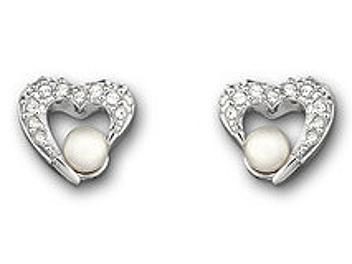 Swarovski 959298 Heart with Pearl Pierced Earrings
