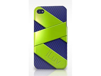iLuv ICC728GBL FUSION Dual Layer Case for iPhone 4G - Green/Blue