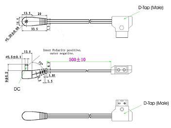 Globalmediapro XD D-Tap (Male) to DV Voltage DC Plug (Female) Power Cable (pack 10 pcs)
