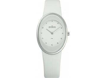 Skagen 648SSLWW White Leather Strap Ladies Watch