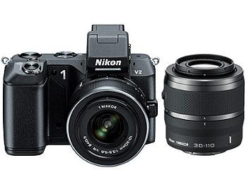 Nikon 1 V2 Camera Kit with 10-30mm and 30-110mm Lenses - Black