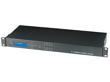 Globalmediapro SHE HE04MEK 4x4 HDMI CAT5 Matrix Switcher Kit with 4 HE02ER Receivers