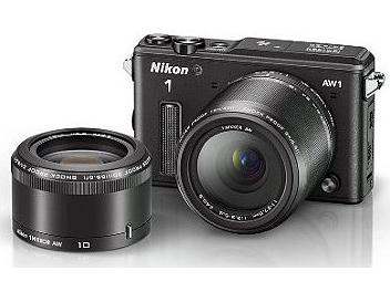 Nikon 1 AW1 Waterproof Camera Kit with 10mm and 11-27.5mm Lenses - Black