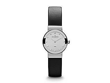 Skagen 358XSSLBC Black Leather & Steel Watch