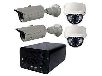 Globalmediapro T-NS-0400 NVR + 2 x T-TD20SV + 2 x T-TB20S1 IR Camera Kit PAL